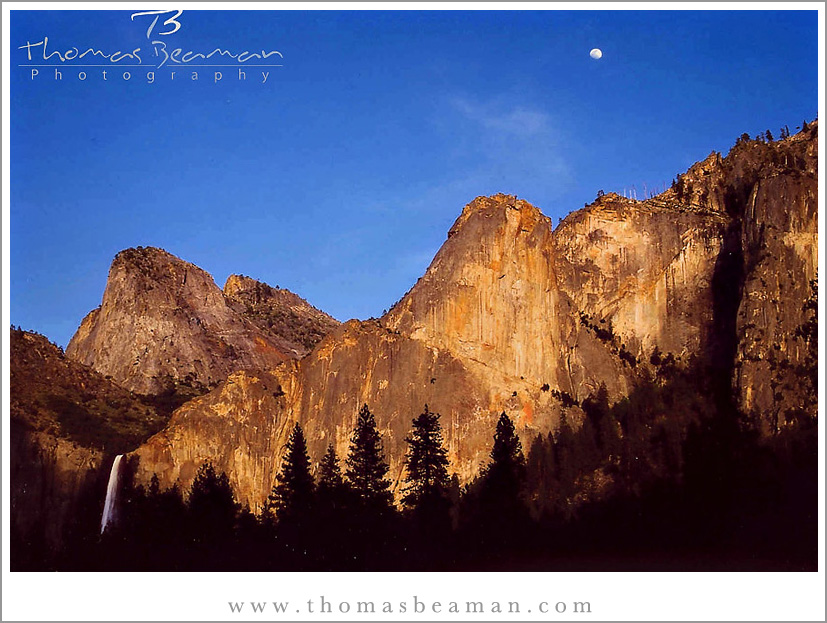 moon over bridal veil falls in yosemite